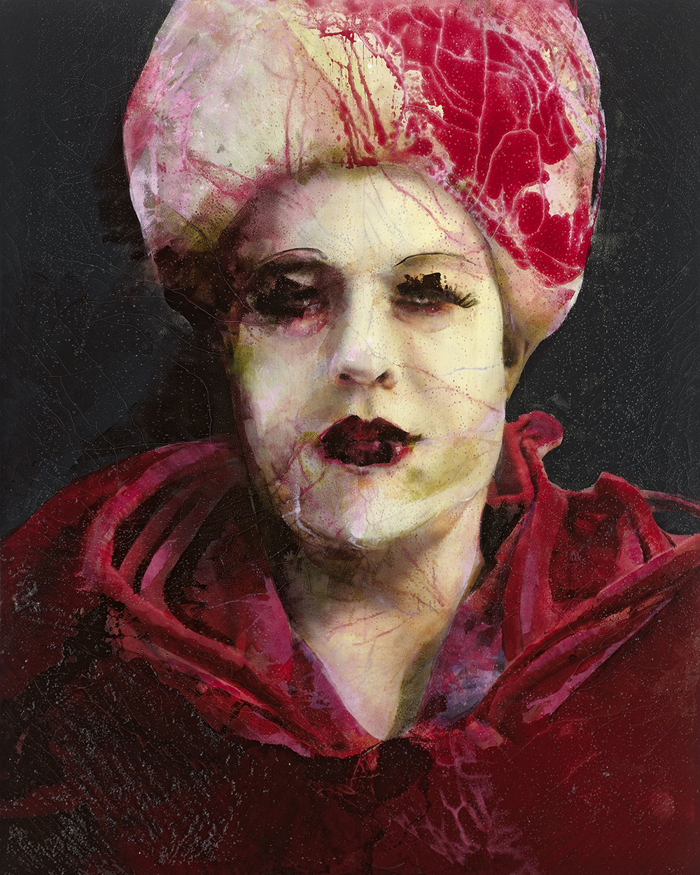 Lita Cabellut: Serie: Serie: After the show/2012 200x180xm, gemengde techniek op linnen